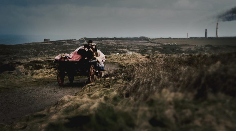 Clifftop scene from the movie TIN which is set in Cornwall